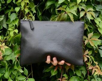 Medium Black Pebbled Leather Clutch, Pebbled Italian Leather Clutch, Oversize Clutch, Purse