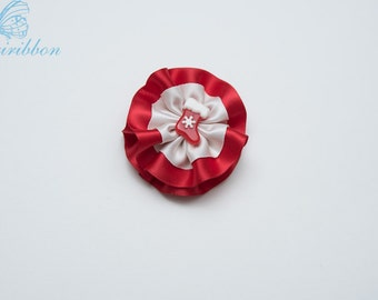 red and white flower hair clip - girl christmas Hair clip 112