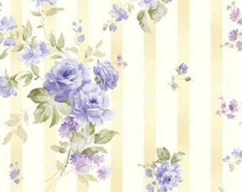 Half Yard Ellie Ann - Wallpaper in Blue -Romantic Floral Cotton Quilt Fabrics - Eleanor Burns for Benartex Fabrics - 1232-52 (W2347)