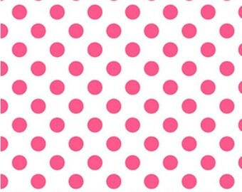 Half Yard NEONS - Medium Neon Dots in Neon Pink on White - Cotton Quilt Fabric - C490-101 - Riley Blake Designs (W2472)
