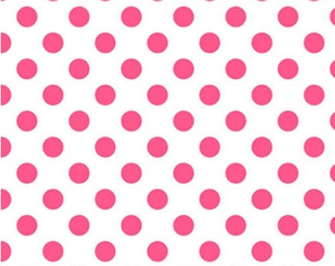 Half Yard NEONS - Medium Neon Dots in Neon Pink on White - Cotton Quilt Fabric - C490-101 - Riley Blake Designs (W2472)