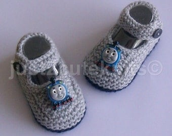 Hand Knitted Designer Baby Boy Booties Thomas The Tank Engine Newborn Special Occasion Baby Shower Original Reborn Doll #67