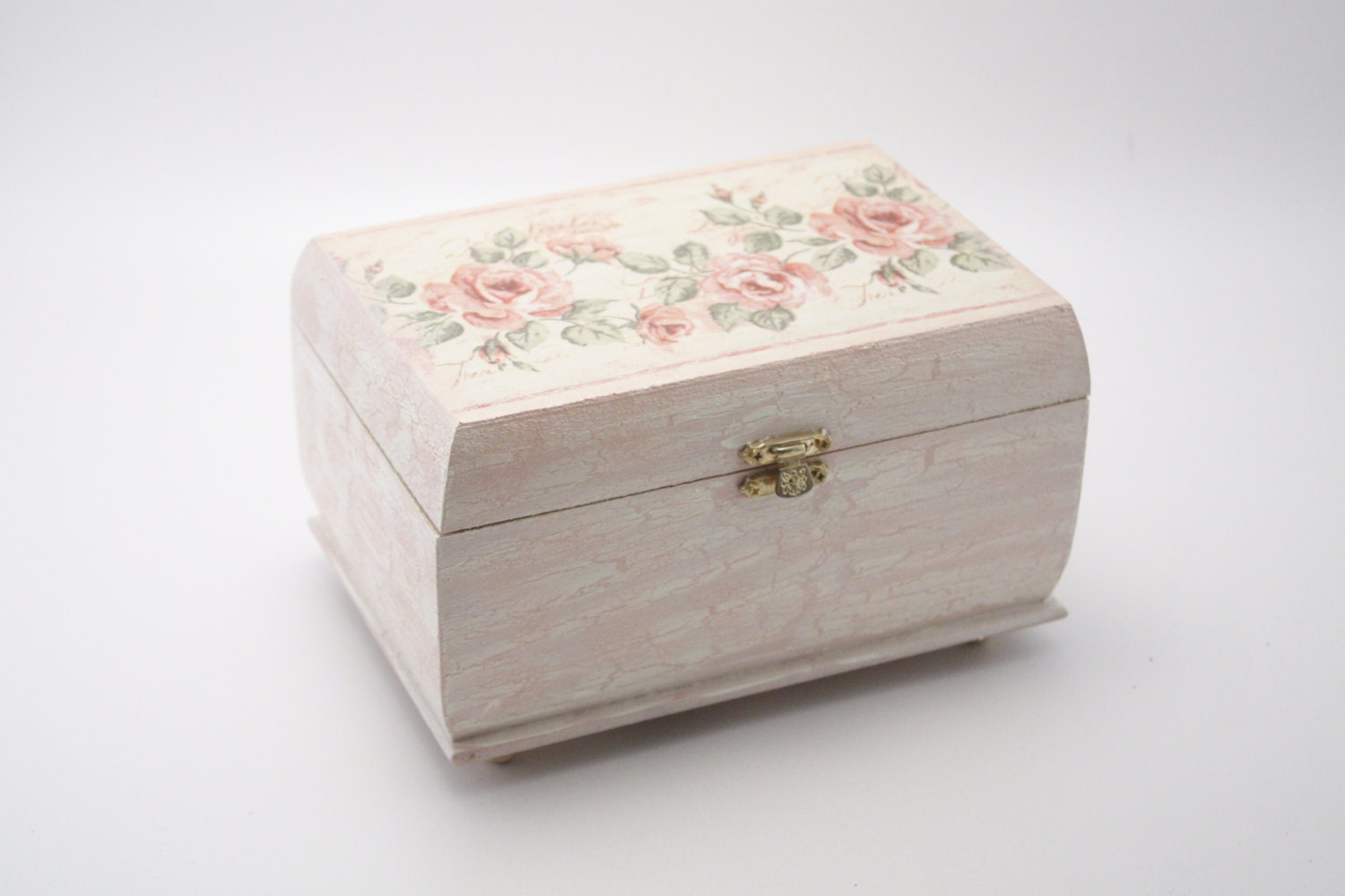 wooden jewelry box decoupage box shabby chic box by pastimeart. Black Bedroom Furniture Sets. Home Design Ideas