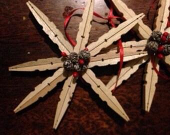 Primitive clothespin snowflake ornament
