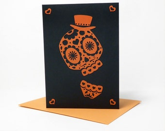 Day of the Dead Skull Layered Paper Cut Greeting Card