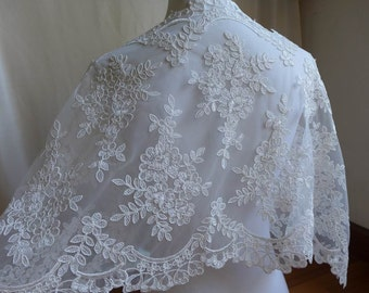 Ivory Wedding Lace Trim, Alençon Embroidery Floral Lace Fabric, Ivory Lace for Bridal Bolero Lace