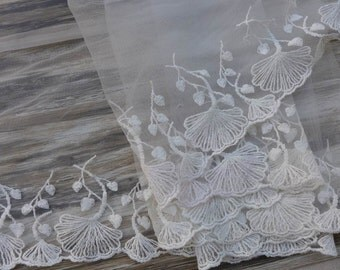 Off White Lace Fabric, Embroidered Apricot leaf Trim, Tulle Dress Lace Trim, Lace By Yard