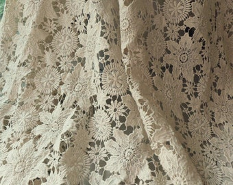 Vintage Lace Fabric, Beige Cotton Guipure Fabric with Floral Pattern, Both Sides Scalloped Design