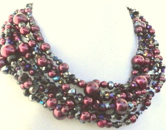 purple statement necklace maroon burgundy by casualblingandppc