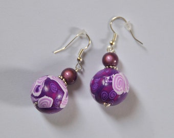mauve and purple round earrings