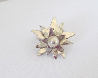 Vintage Modernist Sterling Silver Star High Setting Ring Size 9