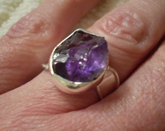 Amethyst In The Rough (Natural) 925 Sterling Silver Ring Size 6.50