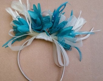 Cream And Turquoise Fascinator Long Feathers On Headband