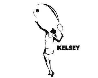 Personalized Tennis Decal for a Girl with Name , Custom Sticker for female Tennis Players and Tennis Mom and Family , female Tennis Player