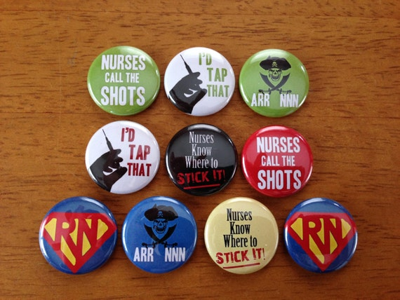 Registered Nurse Buttons - Set of 10 Pinback Buttons - nurse flat back, nurse love, nurse gifts, RN, Registered Nurse