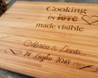 Custom engraved Cooking Is Love Made Visible Cutting Board, Bamboo, Earth Friendly and Sustainable, Free Personalization