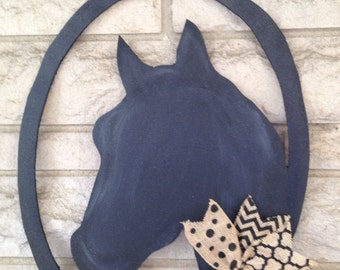 Horse head door hanger/wreath, farmhouse,horse door hanger