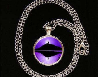"Glastonbury Tor Glass Image Pendant necklace 22"" chain pagan gift present UNIQUE ART"