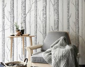 Birch Tree Peel & Stick Wallpaper -wall decal -wall sticker -home decor