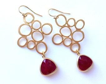 Wine Gold Earrings, Modern Burgundy Earrings, Ruby Jade