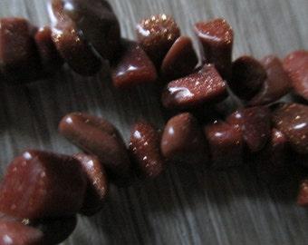 "Vintage Gold Sitara Gemstone Chip Beads Beaded Necklace Long 17.5"""