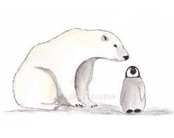 Polar Bear & Penguin Print