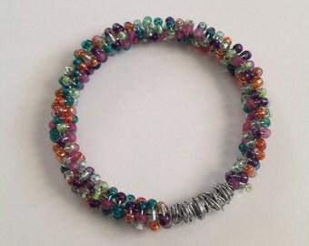 Seed beaded bangle bracelet