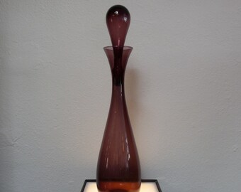 Purple Decanter with Stopper Mid Century Art Glass Handblown Glass