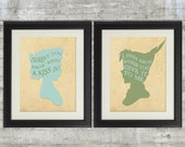 Peter Pan Nursery, Peter and Wendy, Surely You Know What A Kiss Is, set of 2 8x10 Nursery Art Prints, Neverland Series