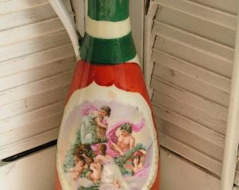 SALE 50% Off -- Vintage Antique St. Kilian Large Ewer Pitcher Cherubs portrait RS Prussia Porcelain Schlegelmilch Beehive Mark