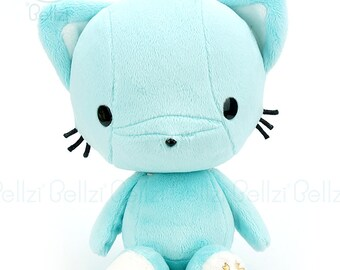 "Bellzi® Cute Cat Plush Stuffed Animal Toy ""Teal"" w/ White Contrast Kitty Plushie - Kitti"