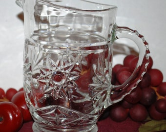 Anchor Hocking Clear Glass Star Of David Footed 16 Oz Milk/Juice Pitcher