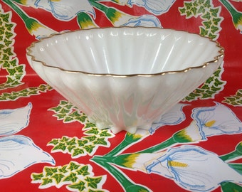 "Vintage Anchor Hocking Fire King milk glass ""Rachel"" gold rim bowl"
