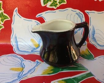 Vintage ceramic black restaurant ware creamer