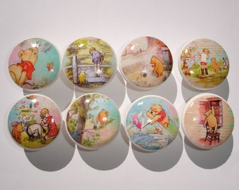 Winnie The Pooh Dresser Drawer Knobs--Set of 8
