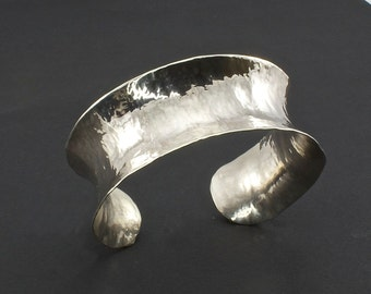 Silver Cuff Bracelet - Anticlastic Hammered Cuff Bracelet - Sterling Silver Cuff Bracelet - Woman's Sterling Cuff - Unusual Artisan Jewelry