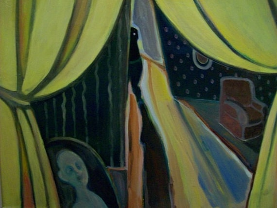 Vintage Edward Munch Scream Style Spooky Ghostly Painting Signed Unknown Artist