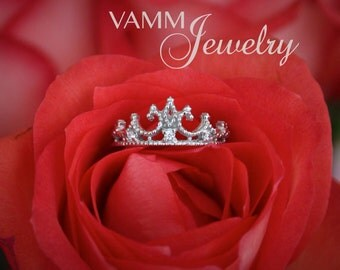 Princess Crown Ring 14k White Gold