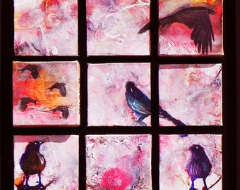 """Stark Raven.  A contemporary, expressionistic acrylic painting.  15.5"""" x 15.5"""" x 2"""".  Free U.S. shipping."""