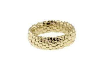 Unusual Wedding Ring 14K Yellow Gold. Woven mesh