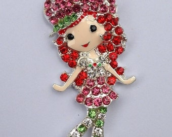 45mm Strawberry Shortcake Inspired Rhinestone Pendant Chunky Necklace Beads