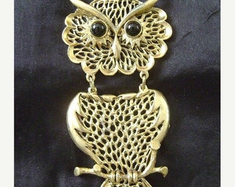 Huge 70s Vintage OWL PENDANT Necklace Boho 1970s Goth Glam Statement Jewelry Chunky Bird Animal Hippie Gypsy Gothic Fashion Jewelry Gift Her