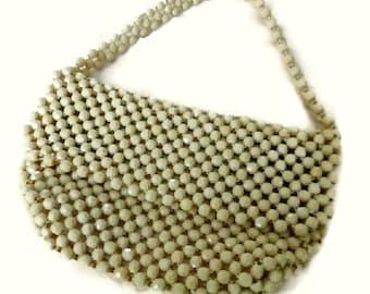 60's Mod Lucite Bead Purse, Vintage Ivory Beaded Bag, 1960s Beaded Handbag Wedding Purse, Mid Century Bridal Hand Bag, Mad Men Cream Purse
