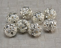 Rhinestone ball bead, white rhinestone, silver plated, 6-12mm, white ball bead, crystal bead, craft supplies, jewelry making--50pcs