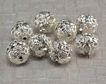 Rhinestone ball bead, white rhinestone, silver plated, 6-12mm, white ball bead, crystal bead, craft supplies, jewelry making--50pcs