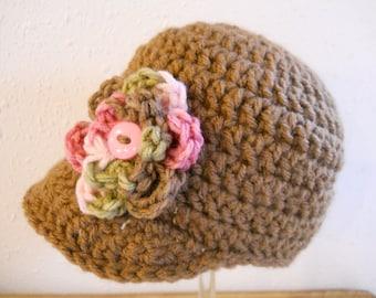 Baby Girls Crochet Newborn Paperboy Cap, Newsboy Style Cap, Newborn Hat, Newborn Photo Prop