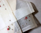 vintage boxed handkerchief hankie hanky // swiss embroidered pink floral