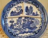 Blue Willow Plate Vintage Blue Willow Divided Plate Made In Japan Blue Transferware Home Decor Collectible Vintage China
