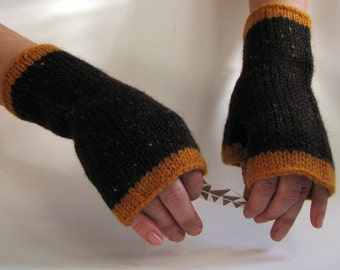 Wool Wrist Warmers handknit in brown and orange felted large