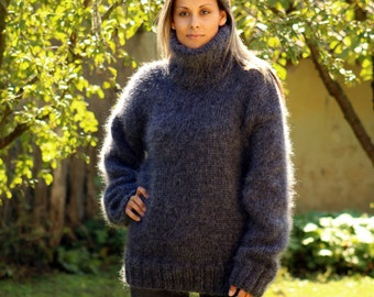 Hand Knit Mohair Sweater Dark Gray Fuzzy Turtleneck Jumper Pullover Jersey MADE to ORDER
